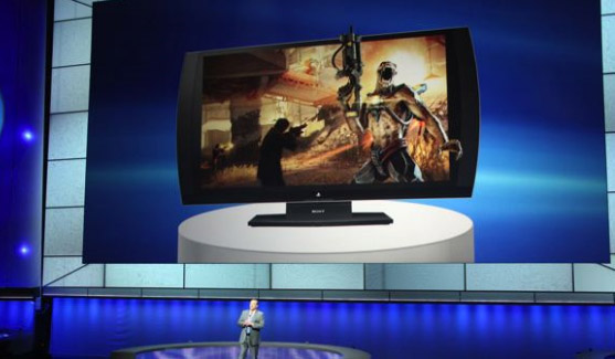 apresentao do ecr 3D PlayStation. imagem do Engadget.