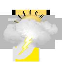 Geralmente nublado com tempestades eléctricas