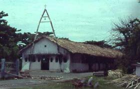 A igreja de Suai onde foram mortos os refugiados e os padres que lhe deram a proteção.