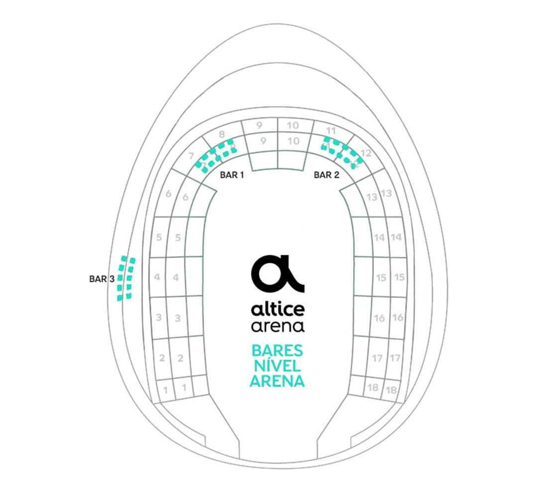 Mapa dos Bares e Restaurantes Arena Altice