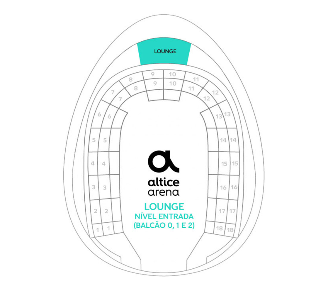 Mapa do Lounge Arena Altice