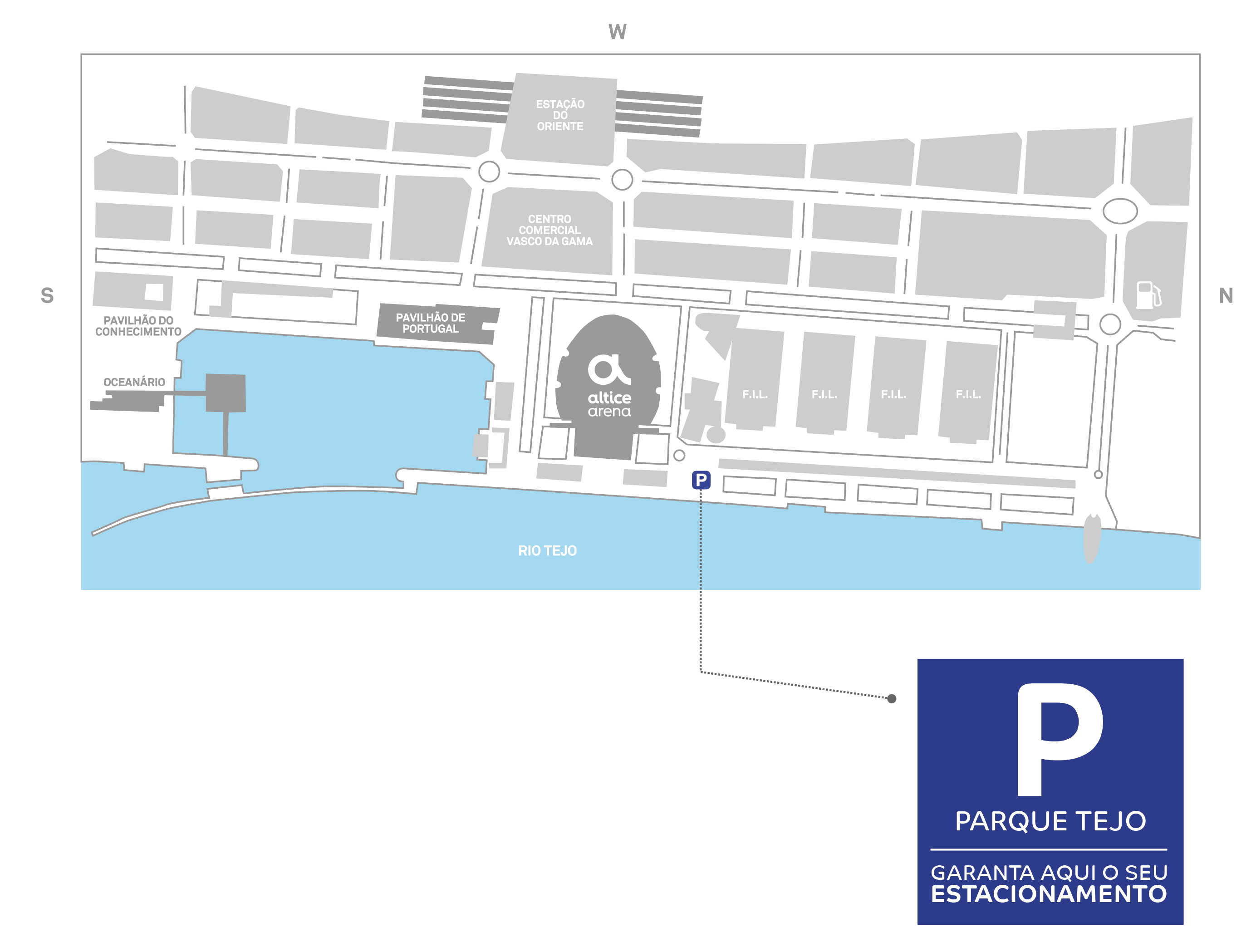 Mapa Parque de Estacionamento Arena Altice